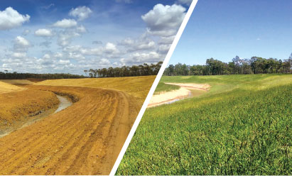 envirostraw before and after of land